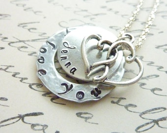 Personalized I love you Necklace Heart Necklace Hand Stamped jewelry