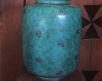 Gustavsberg Vase, Vintage Green Gustavsberg Vase, Collectible Gustavsberg, Old Swedish Vase, Vintage Swedish Vase, Swedish Argenta Vase