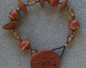 Ancient Redwoods chunky bracelet with polymer clay, wood, Czech glass and a handmade button clasp