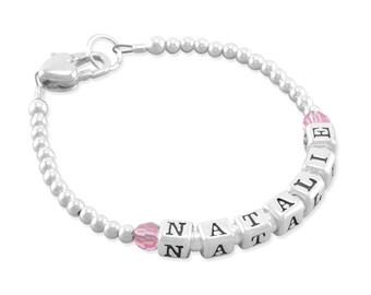 Name Bracelet, sterling silver, newborn girl bracelets, baby shower gift, birthstone heart clasp birthday, little girls, personalize NATALIE
