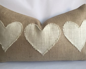 Natural Burlap Lumbar Pillow Cover with Three Cream Fringed Hearts