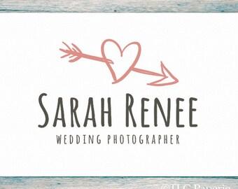 Heart Logo, Wedding Logo, Photography Logo, Wedding Photographer logo, Heart and Arrow Logo, Premade Logo