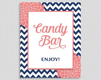 Candy Bar Sign, Navy and Coral Mums, Bridal, Baby Shower Sign, INSTANT PRINTABLE