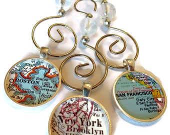 Custom Map Christmas Ornaments; Map Jewelry; Set of Three Beaded Map Ornaments Personalized with your favorite locations, Christmas Decor