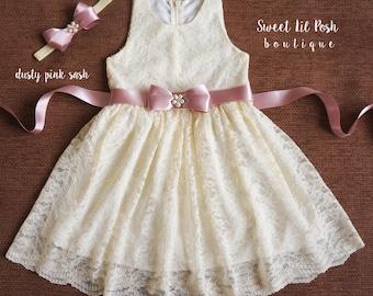 ivory lace girl dress, flower girl dress, lace girl dress, junior bridesmaid, rustic flower girl, country girl dress, baby lace dress