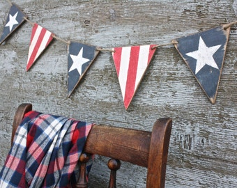American Flag Banner Pennant 4th of July Decor Rustic Decor Tags Americana Signs