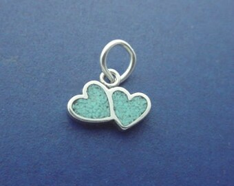 DOUBLE HEART Charm .925 Sterling Silver MINIATURE Small - elp664