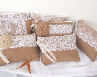 burlap lace purses-burlap clutch -bridesmaid clutch -wristlet -Bridesmaid Gift /set of 7-mix design