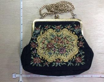 "Vintage Black Tapestry Style Handbag Purse 30"" Chain Used"