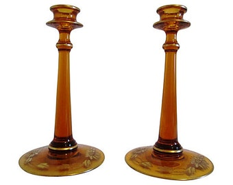 1940s Amber & Gold Glass Candle Holders, Pair