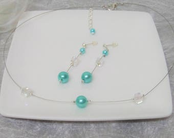 Choker necklace wedding bridesmaid + cube ab rhinestones and turquoise blue pearls earrings