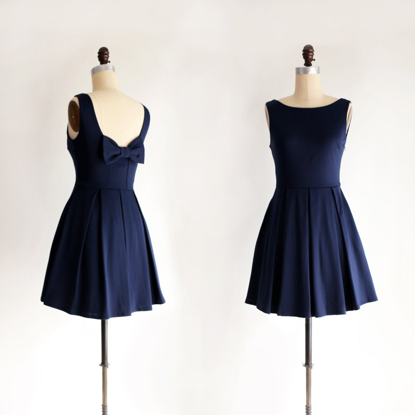 JANUARY Navy blue bridesmaid dress with bow. vintage