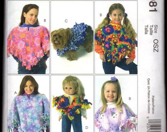 4981 McCalls Sewing Pattern for Ponchos for Adult, Child, Doll and Pet