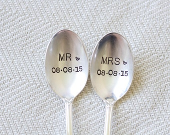 Mr. and Mrs. Spoon Set personalized with the wedding date. Stamped Spoon Set. Wedding or Engagement gift. Bridal Shower Gift.
