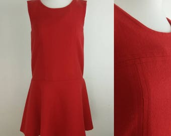 Vintage 1960s Dress  Size 10 Vintage Clothing Women/Vintage Dress Sleeveless Dress, Drop Waist Dress, Red Dress 8, Size 8-10, Bust 34""