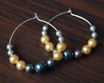 Grey and Yellow Hoops, Sterling Silver Hoops, Tahitian Pearl, Real Swarovski Pearl Earrings, Beaded Jewelry