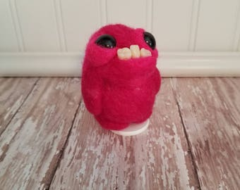 Adorable Needle Felted Wool Toothy Monster- Dark Pink Crazy