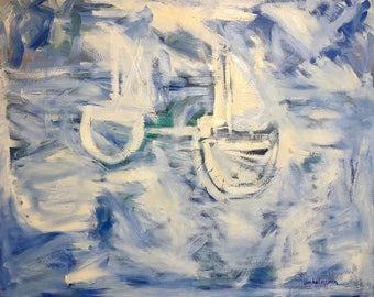 Sailboats ocean white,blue,green,gray Original Oil Painting 24 x 30 inch on stretched canvas by BrandanC