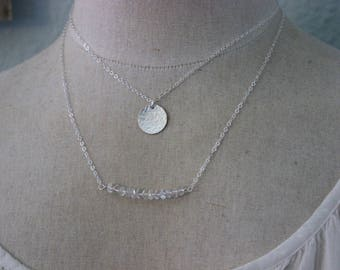 Layered necklaces - Clear rock crystal gemstone bar & hammered round disc - Layering Jewelry  Sterling silver, gold filled or rose gold fill