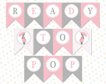 Ready to Pop banner Pink (INSTANT DOWNLOAD) - Baby shower banner - Ready to pop printable - Ready to pop baby shower