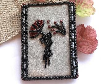Square brooch Autumn brooch Bead embroidered brooch Leaf brooch Brooch handmade Women jewelry Bead brooch Beautiful brooch Gray brooch gift