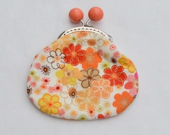 Funky Flowers Eyelet Large Coin Purse Change Pouch with Metal Kiss Clasp Lock Frame - READY TO SHIP