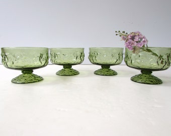 Mid Century Modern Dessert Dishes - 4 Anchor Hocking Lido Dessert Dishes in Avacado Green - Classic 1960's Table - Sherbets -