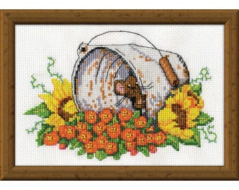 Design Works Bucket Mouse Counted Cross-Stitch Kit