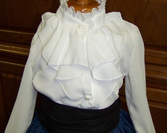 Child's Civil War style Girls high neck blouse Eggshell White chiffon with ruffles in the front and lace around the neck and pearl button