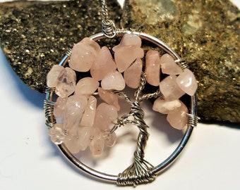 Rose Quartz Tree of Life Pendant Handmade