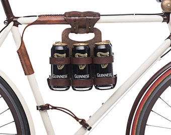 """Bike 6-Pack Holder - """"Bike Beer Combo"""" - Leather Wood Bicycle Beer Carrier with Set Discount"""