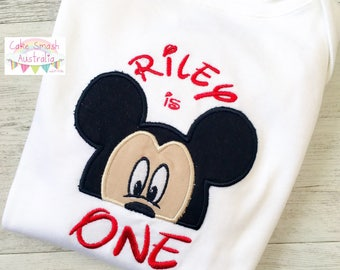 Custom Embroidered Mickey Mouse Inspired Onesie / Cake Smash / Photography Prop / First Birthday