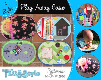 PLAY AWAY 4 travel toys pattern Drive, Draw, Discover & Dolly carry case for babies and kids fun play on the go 4 girls and boys