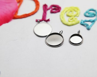 Round Bezel Cups - Stainless Steel Bezel Pendant Blanks - Recessed Bezel Cabochon Setting - Pendant Trays - 20PCS - Attract Magnets