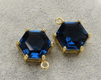 2 Hexagonal Montana Blue Crystal Glass Pendant, 18mm, Gold Plated over Brass Prong Setting. [A0020126]