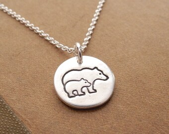 Tiny Mother and Baby Bear Necklace, Bear and Cub, New Mom Necklace, Fine Silver, Sterling Silver Chain, Made To Order