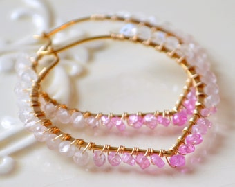 Shaded Ruby Earrings, Gemstone Hoops, Pink and White Ombre, Lotus, Gold Vermeil, Wire Wrapped, July Birthstone Jewelry, Free Shipping