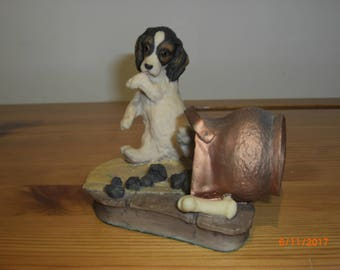 "Vintage Aynsley Mastercraft ""Trouble"""" Figure of Dog and coal scuttle, Hand painted and hand finished"