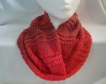 Knit Cowl Oranges, Cowl Infinity Scarf, Sunset Colors, Warm Ombres, Handmade, A Cool Weather Accessory for Women, Soft