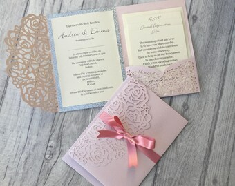 Pink Laser Cut Pocket Wedding Invitation SAMPLE, Blush Pink Glitter Laser Cut, Lace Invitation, Paper Lace, personalised, Wedding Stationery