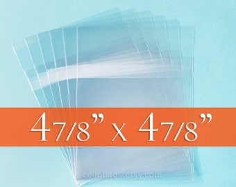 100 4 7/8 x 4 7/8 Inch Resealable Cello Bags, Clear 1.6 mil Acid Free Clear Bags for CD, DVD - Tape on BODY