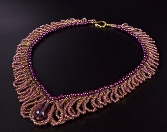 V Shaped Beaded Choker Necklace with Purple Pearls and Pink Bronze Loops and Light Amethyst Drop Pendant. Textured Loop Necklace. S16