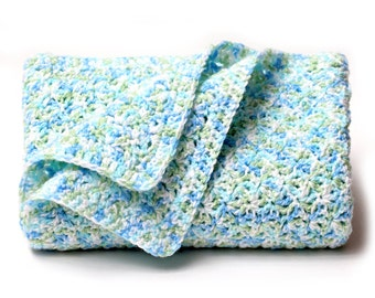 Baby Blanket. Car Seat Carriage Cover. Blue Green Afghan. Baby Boy Stroller Blankie. Infant Lapghan. Doll Blanket. Snuggle Up. Lovey