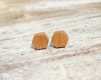 Cherry Wood Hexagon Earrings
