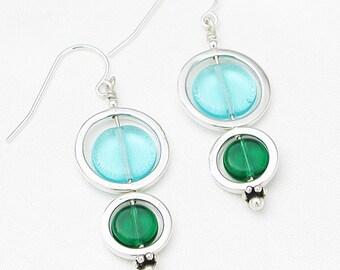 Double circle earrings - mermaid