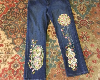 Embroidered Jeans Hand Embellished Rider Jeans Size 10 P Bootleg Jeans applique jeans