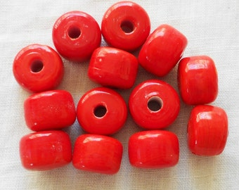 Ten 12mm x 9mm Opaque red glass pony beads, large hole roller, big hole crow beads, Made in India, C0401