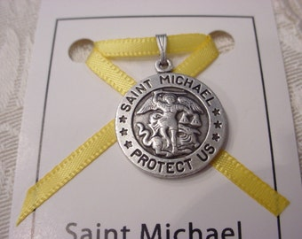 St. Michael U.S. MILITARY Pendant Charm on Card ~ CHOICE of Air Force, Army, Coast Guard, Marine Corps and Navy