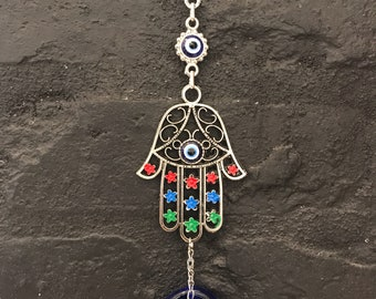 Hamsa Hand Amulet Wall Hanging with Evil Eye, Blessing and Protection for your home, Hand Made Metal Wall Ornament