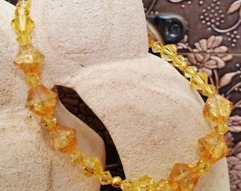 Topaz and Amber Bracelet, Summer, Sunny, Swarovski, Glass, Gold